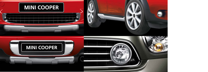 ミニクロスオーバーのデザインパッケージ。左上がフロント、右上がサイド、左下がリアのアンダーガード。また右下はアダプティブヘッドランプセット(クローム)だ。