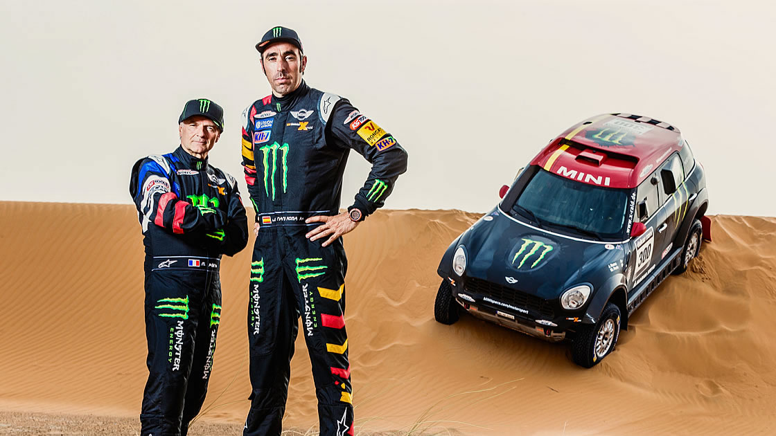 ミニ「 ALL4レーシング」のミシェル・ペラン選手(フランス)、ナニ・ロマ選手(スペイン)
